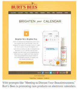 Burts Bees invites itself into your calendar/NYT