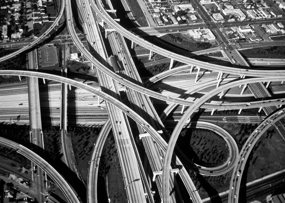 Aerial view of a freeway interchange, LA