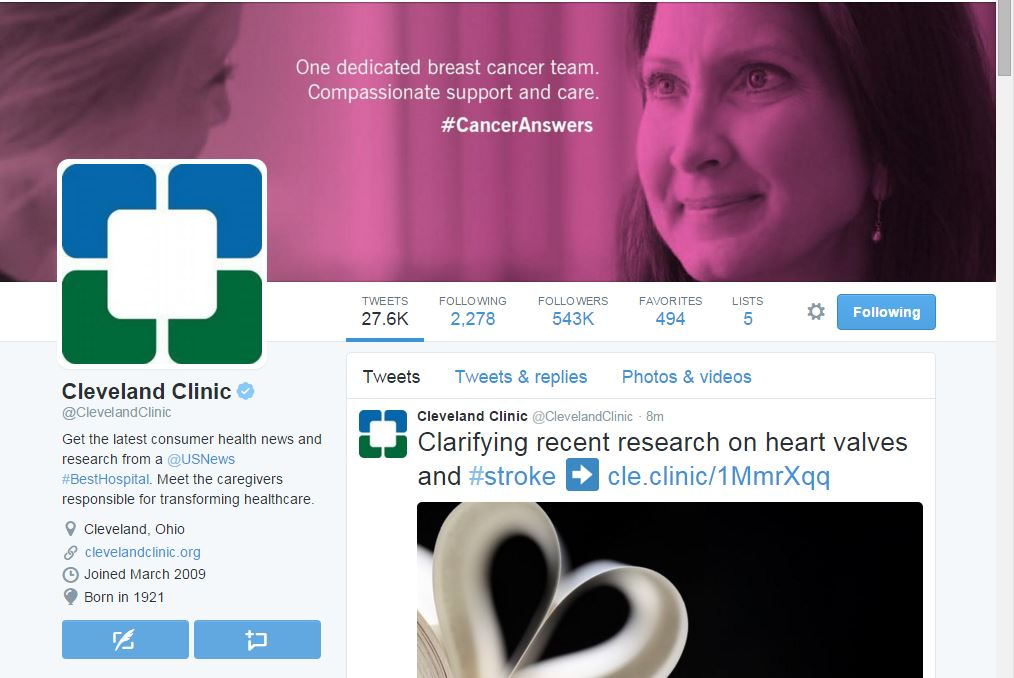 Cleveland clinic Twitter 10.30